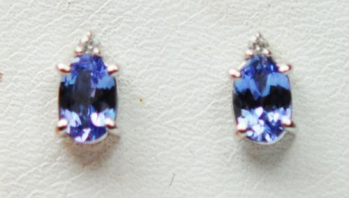 Tanzanite And Diamond White Gold Stud Earrings